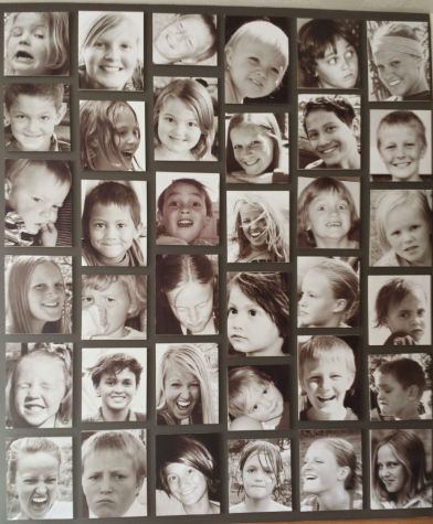 connie ward girl with a past blog genealogy family history photo wall grandkids display grayscale black and white