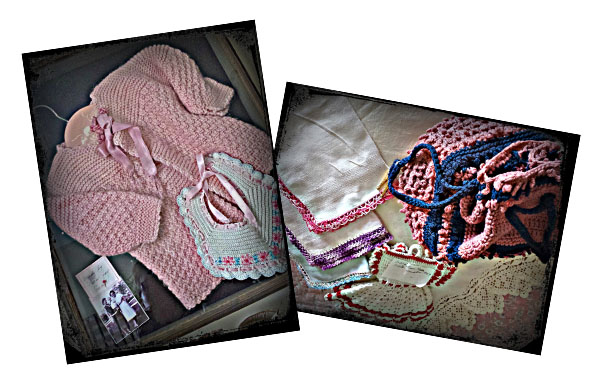My baby sweater and bib, hankies, hot pads, purse
